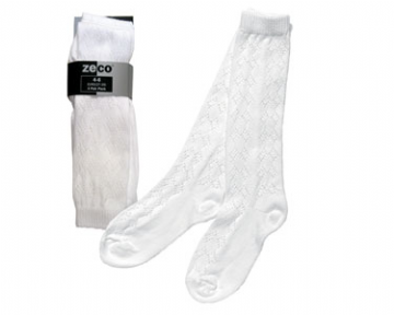 Girls Knee High Pelerine Socks - White